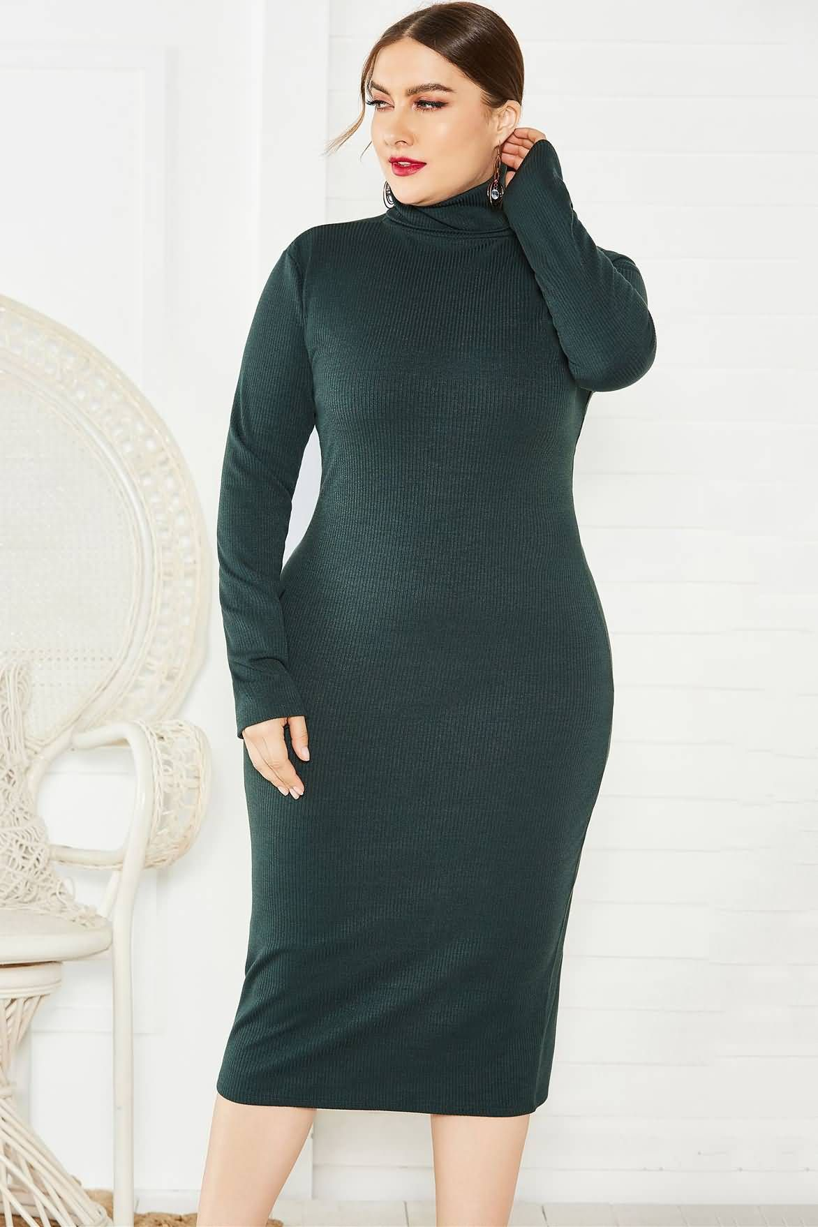 Dark Green Plus Size High Neck Long Sleeve Casual Ribbed Bodycon Sweater Dress Bodycon Sweater Dress Sweater Dress Plus Size Bodycon [ 1758 x 1172 Pixel ]