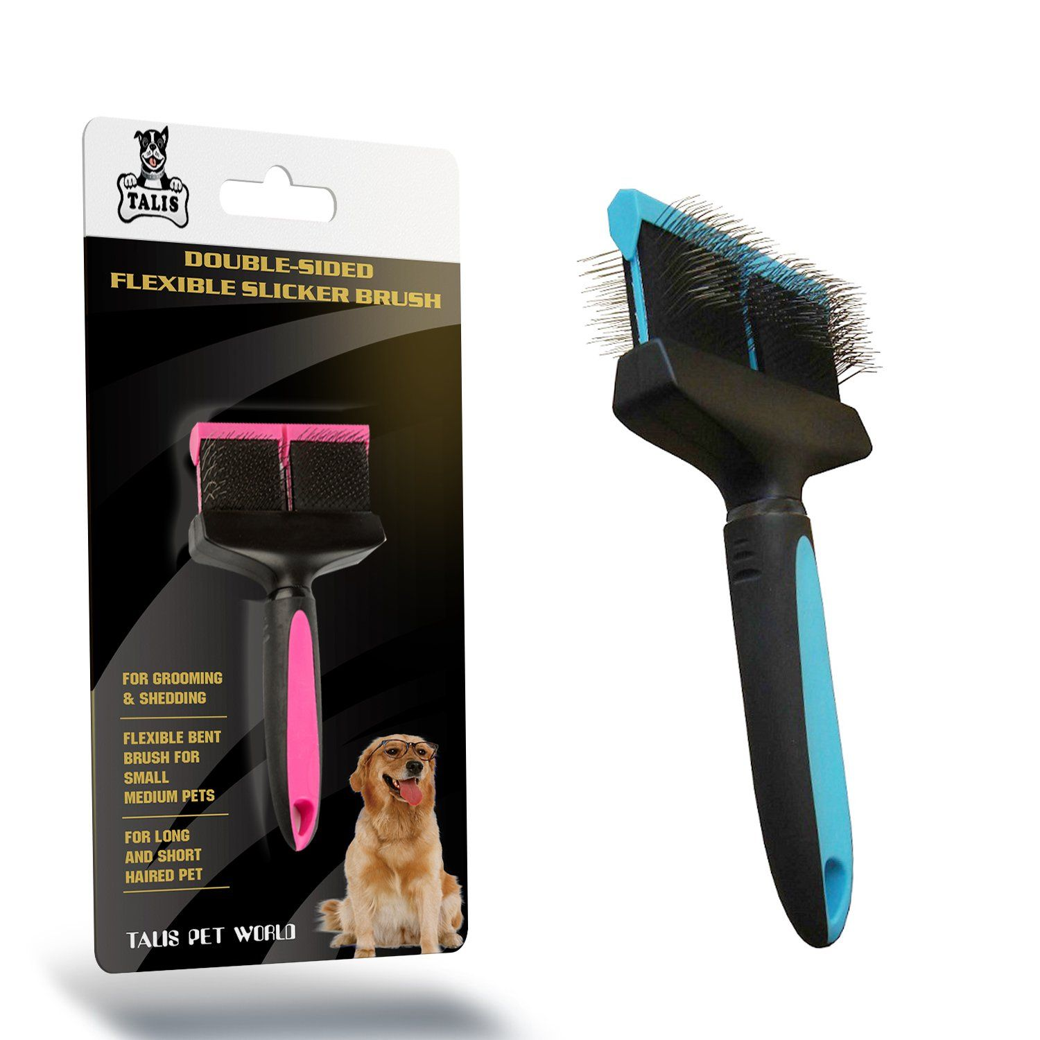 Brush Pet Double Sided Dog Grooming Comb Hair Cat Fur Shedding