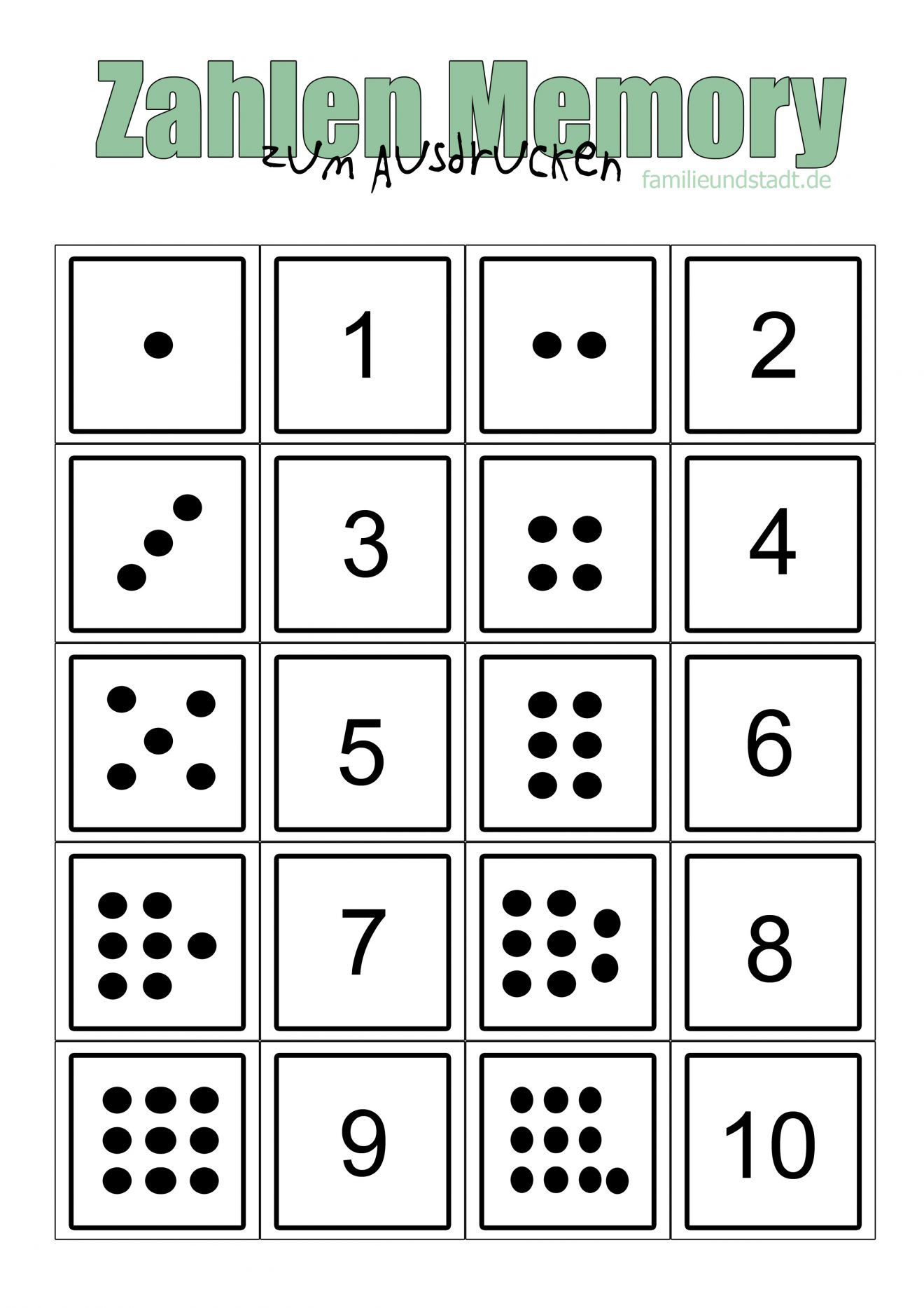 Zahlenmemory bis 10 selber basteln zum Ausdrucken | kita | Pinterest ...