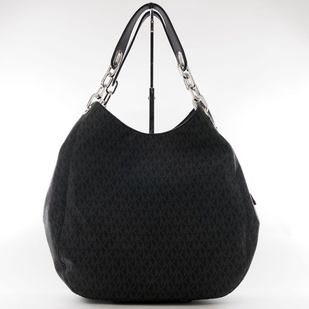 Designer Bags Michael Kors Fulton Large Logo Shoulder Tote 398 Black Silver