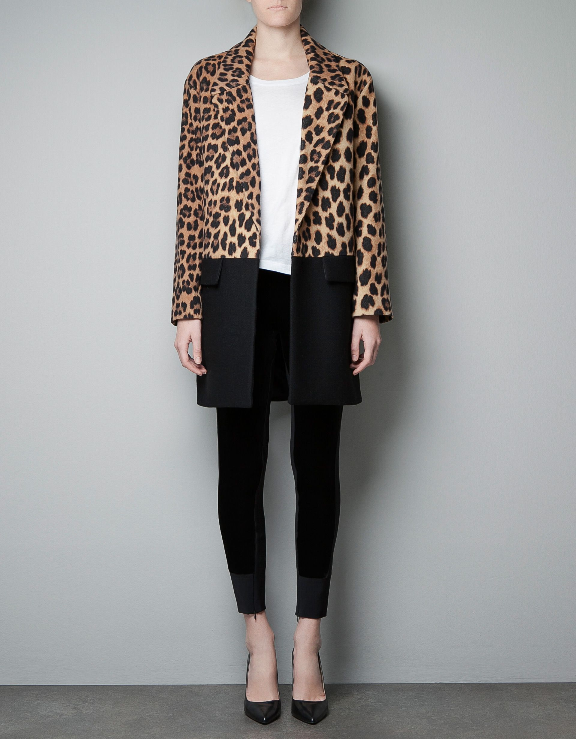 e5cf648a7a9b LEOPARD PRINT AND COLOR BLOCK COAT - Collection - Woman - SALE - ZARA  United States $90
