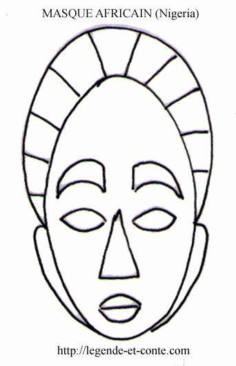 Coloriage masque africain n 2 afrika pinterest - Dessin de masque africain ...