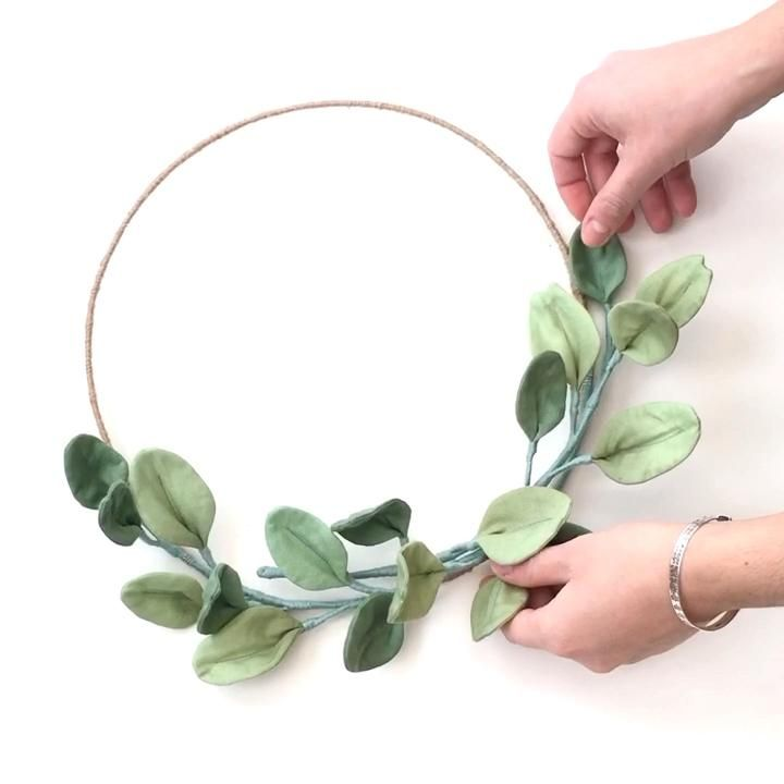 Textile eucalyptus wreath