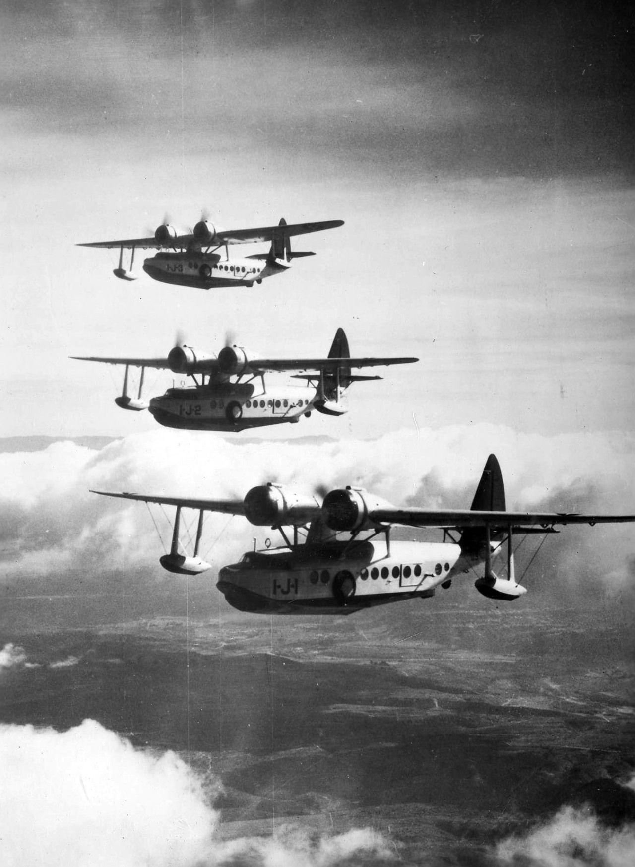 "Formation flight Sunday. ""Three U.S. Navy Sikorsky JRS1"