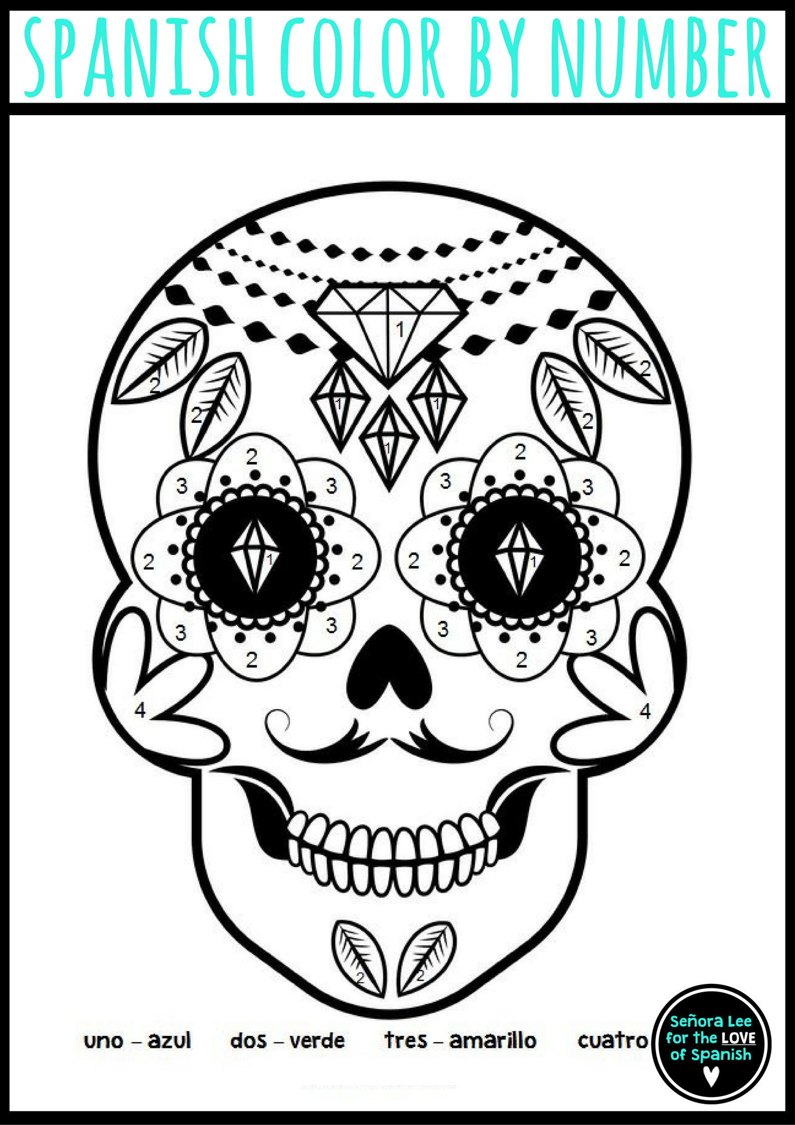 Day of the Dead Día de Los Muertos: Color by Number Sugar Skull ...