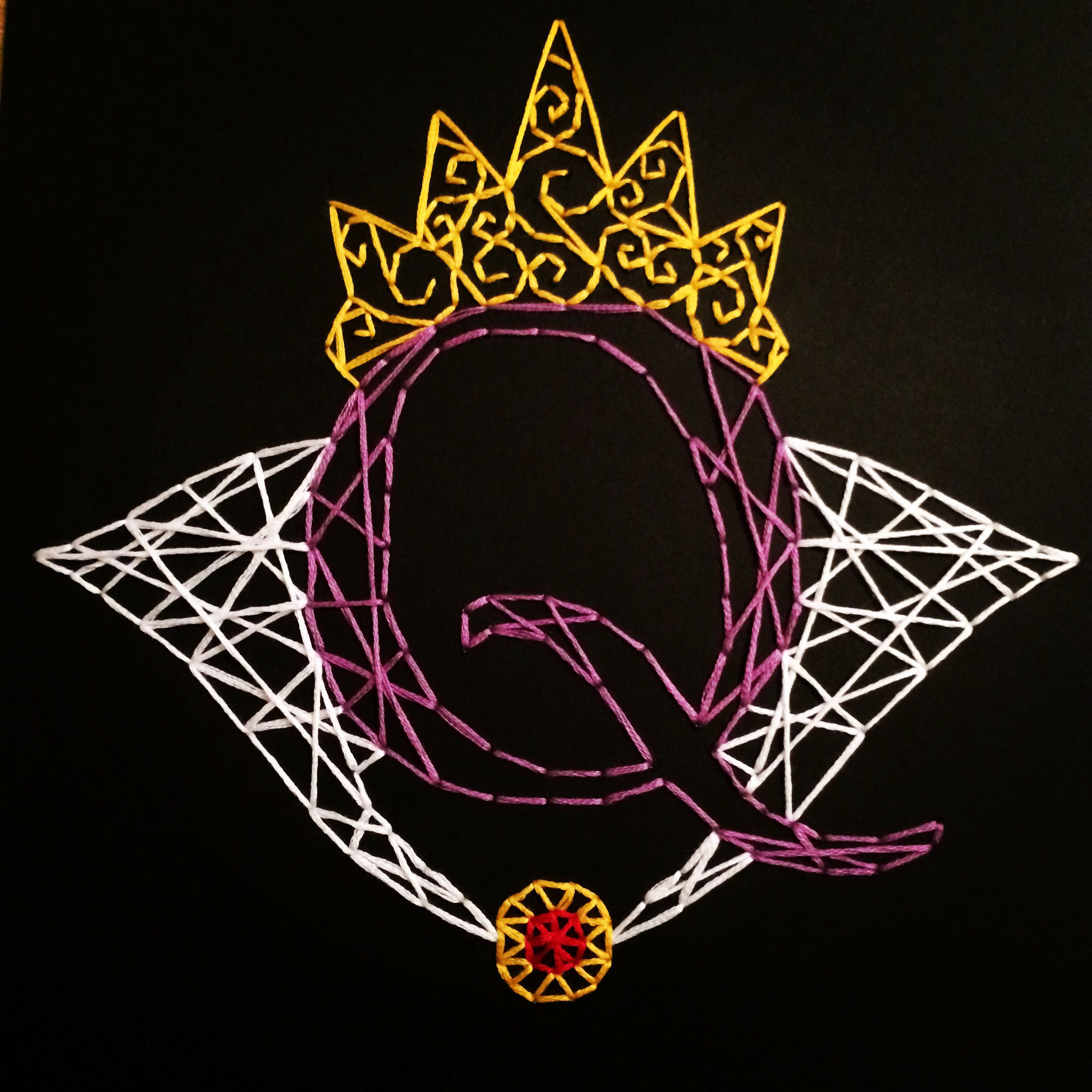 String art for Q. Evil Queen is her fave. Quilling-like with string