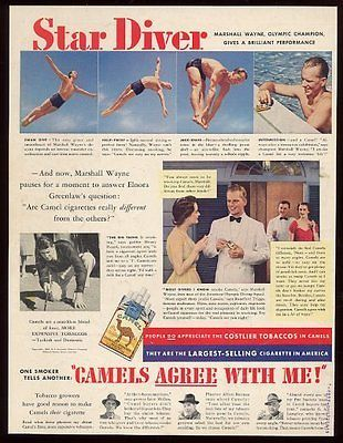 1938 olympic #diver #marshall wayne #diving photo camel cigarette print ad,  View more on the LINK: http://www.zeppy.io/product/gb/2/361450901132/