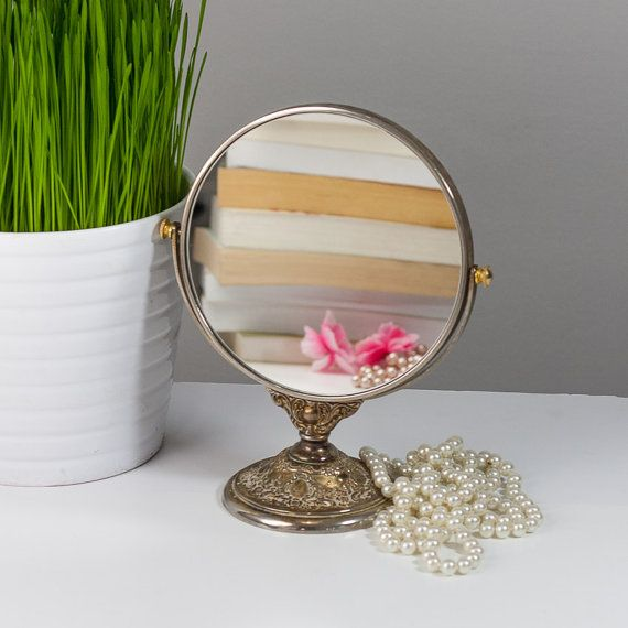 Makeup mirror on stand vintage vanity mirror by for Vanity stand