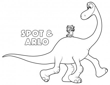 Print Out The Good Dinosaur Arlo And Spot Coloring Pages