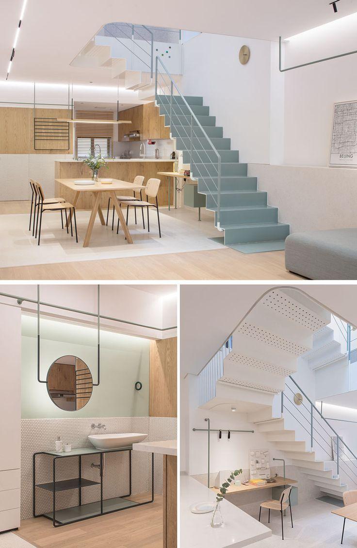 Simple light wood dining furniture keep this modern interior bright