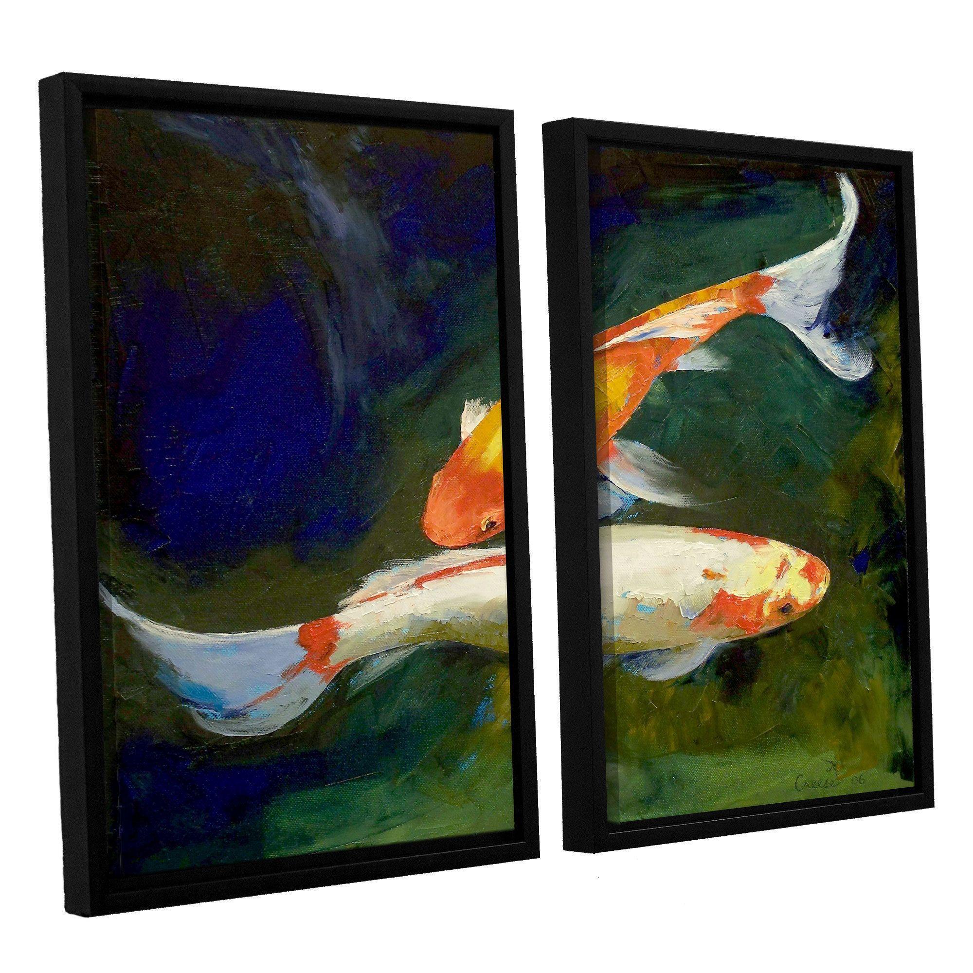 ArtWall 'Michael Creese's Feng Shui Koi Fish' 2-piece Floater Framed Canvas Set
