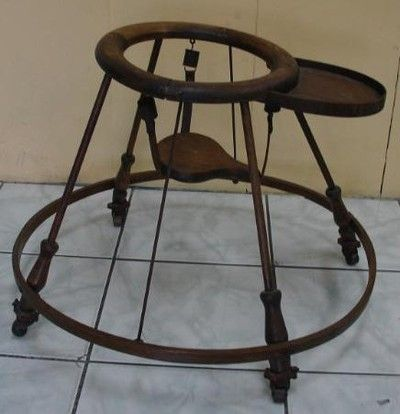 Antique Wooden Baby Bouncer Walker 1800