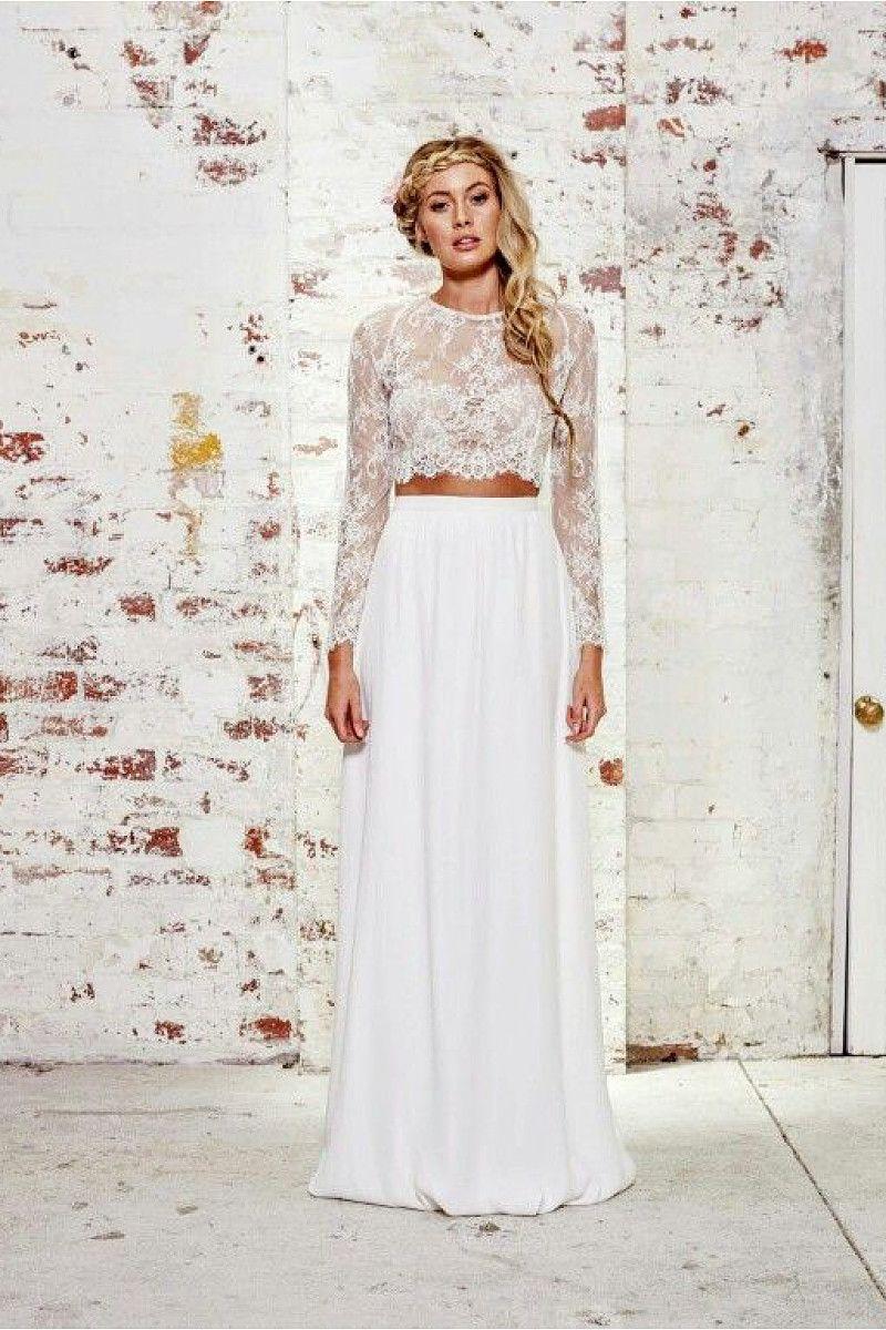 Aline fulllong sleeve twopiece long lace chiffon wedding dresses