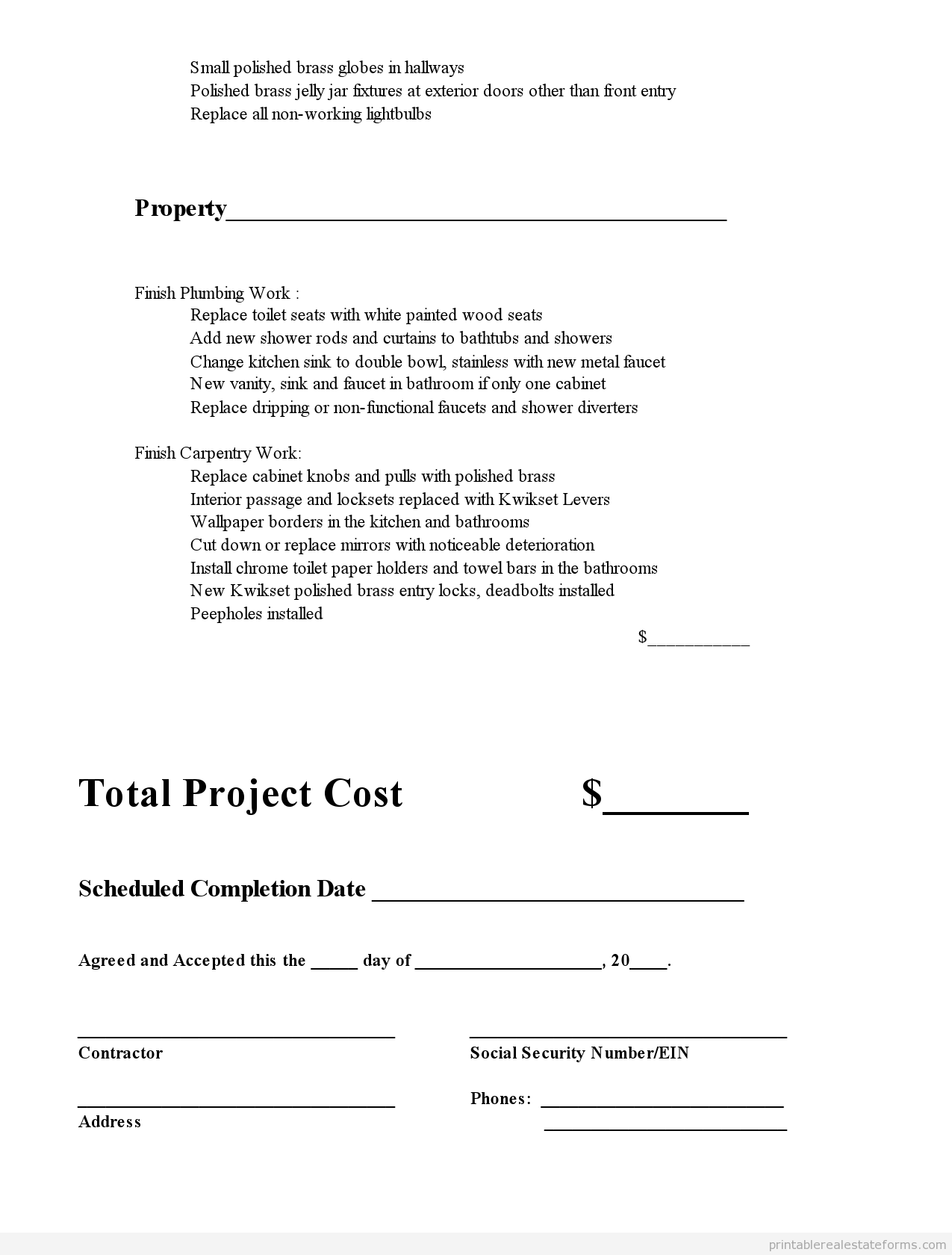 Printable Subcontractor Agreement Template   Sample Forms
