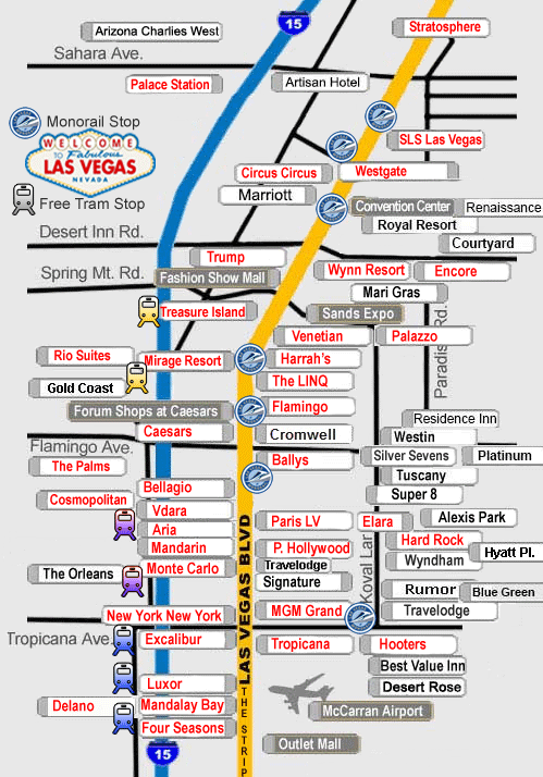 Map Of The Strip Las Vegas Las Vegas Direct Hotel Map. View hotels by location on the Las
