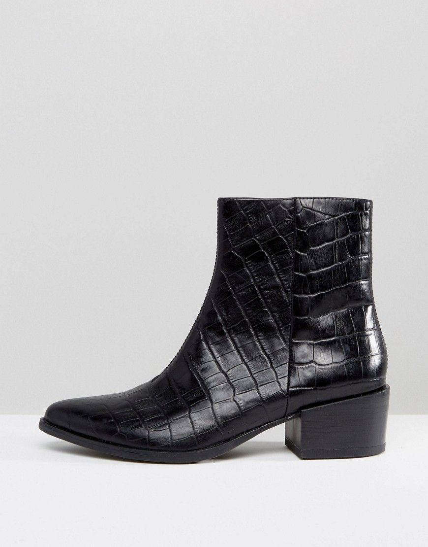 f83cbbc958a Vagabond Marja Black Leather Croc Effect Ankle Boots - Black