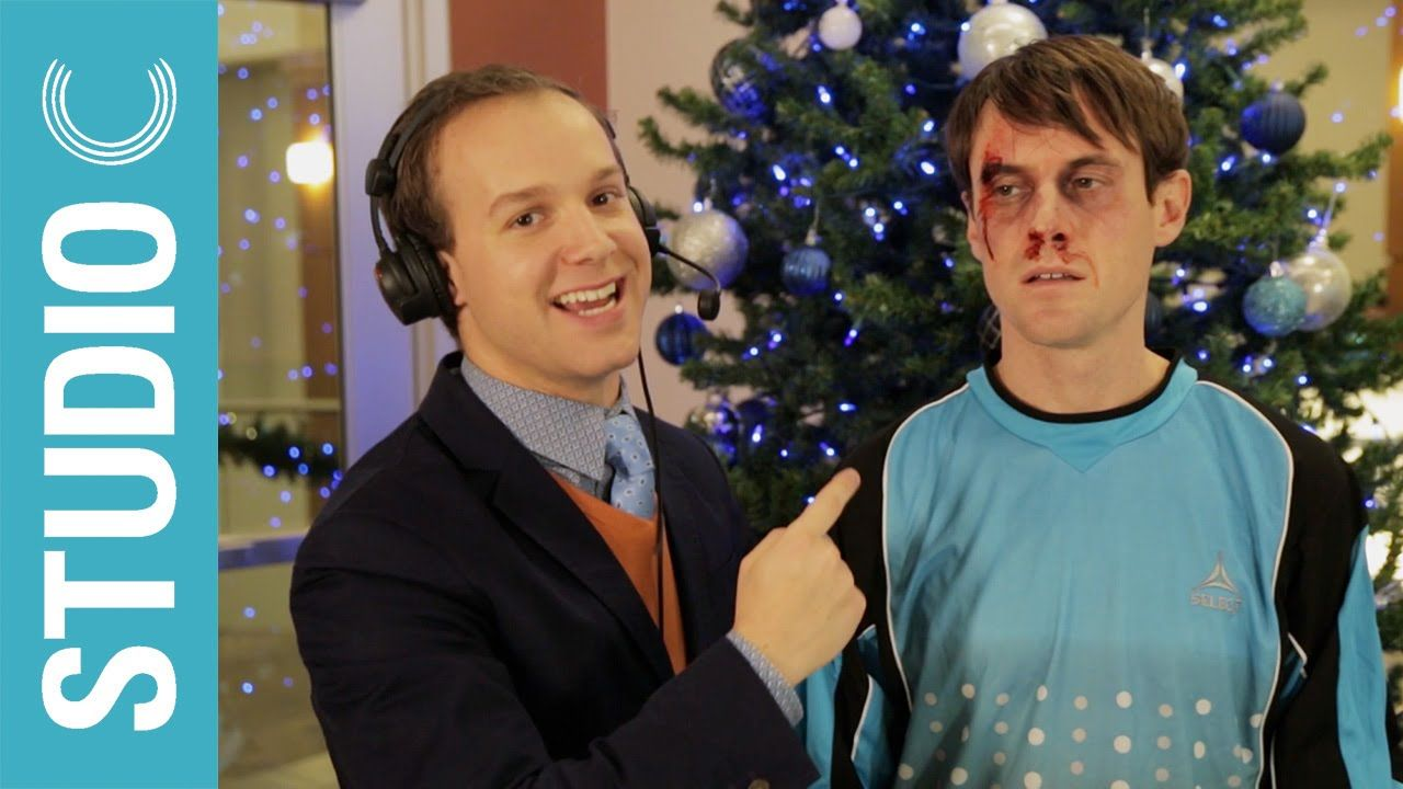 Goalkeeper Scott Sterling Gets A Christmas Present To The Face Studio C Studio C Studio C Youtube Studio C Videos