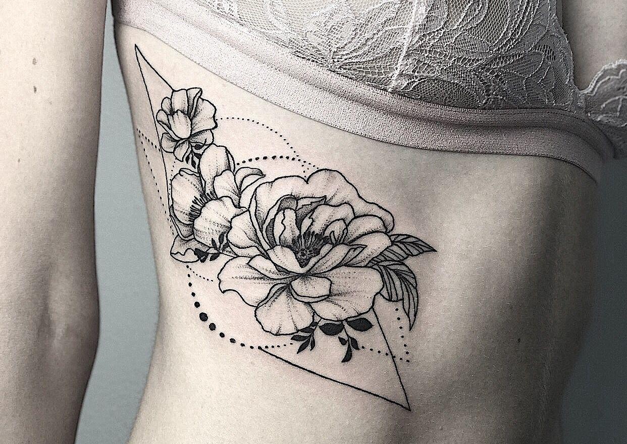 Flower Tattoos with Ornament. Feminine Tattoos . Bali