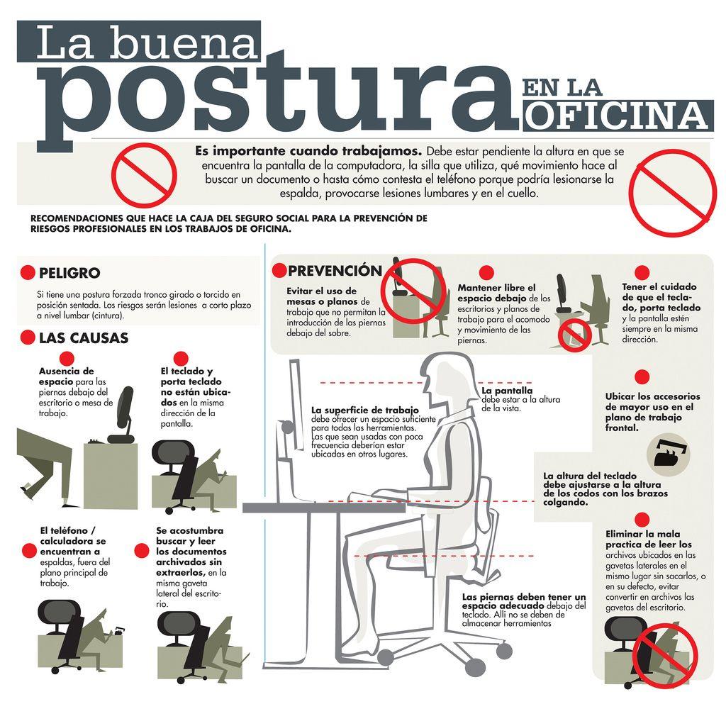 La buena postura en la oficina infografia infographic for Recomendaciones ergonomicas para trabajo en oficina