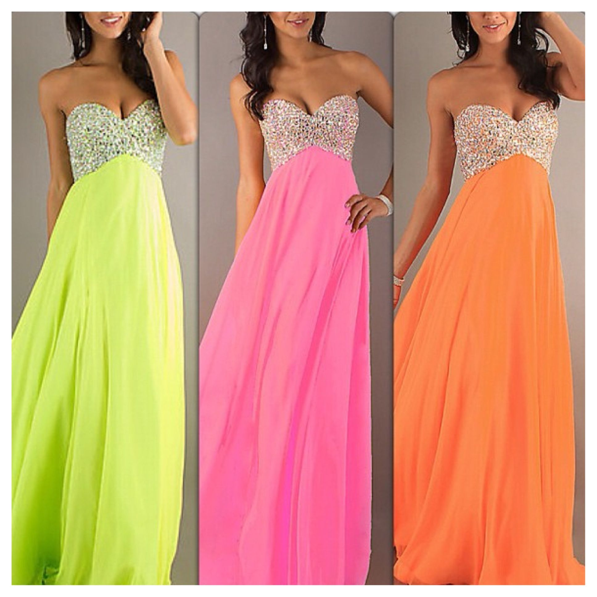 Green pink orange fashion pinterest dream prom prom and dress