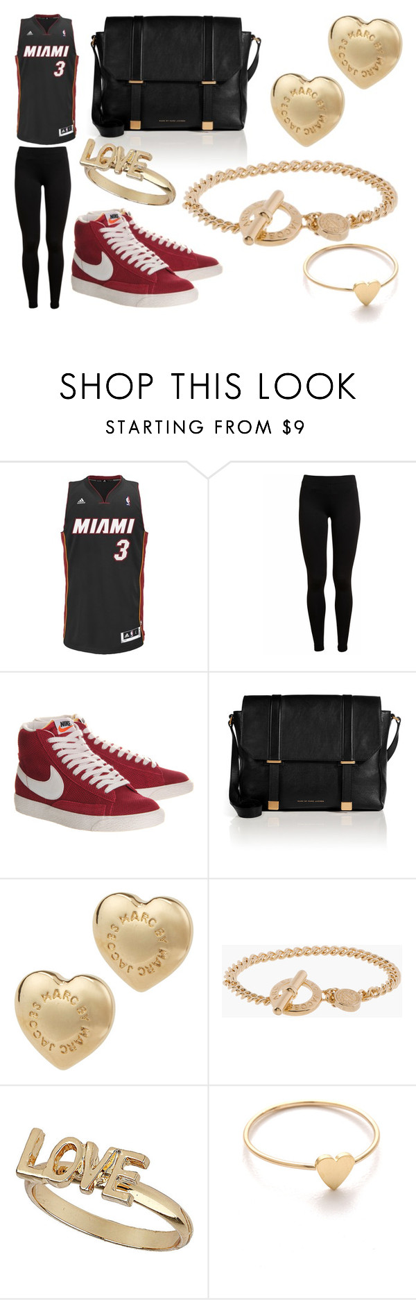 """""""At a Miami Heat Game"""" by laura2703 ❤ liked on Polyvore featuring adidas, Vince, NIKE, Marc by Marc Jacobs, Topshop and Jennifer Meyer Jewelry"""