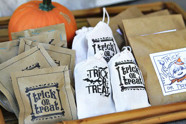 DIY Parchment Treat Bags misc arts  crafts Pinterest Around - halloween treat bag ideas