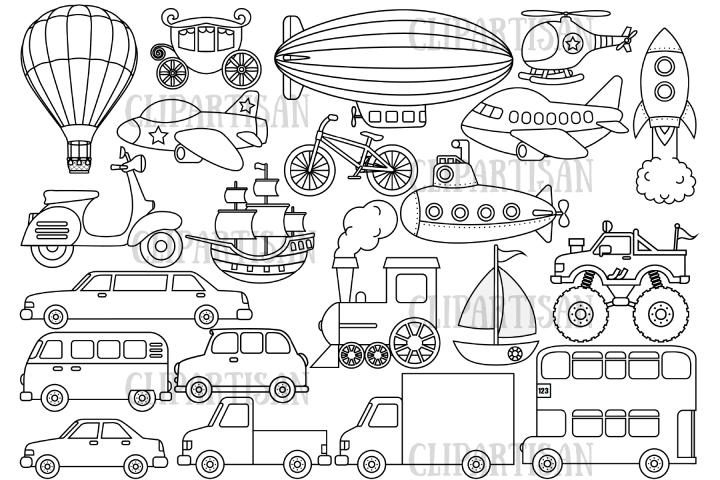 Transportation Clipart Vehicles Digital Stamp 442837 Illustrations Design Bundles Clip Art Digital Stamps Art Set