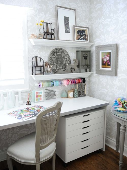 Craft Room Design Ideas Remodels Photos With Gray Walls Writing