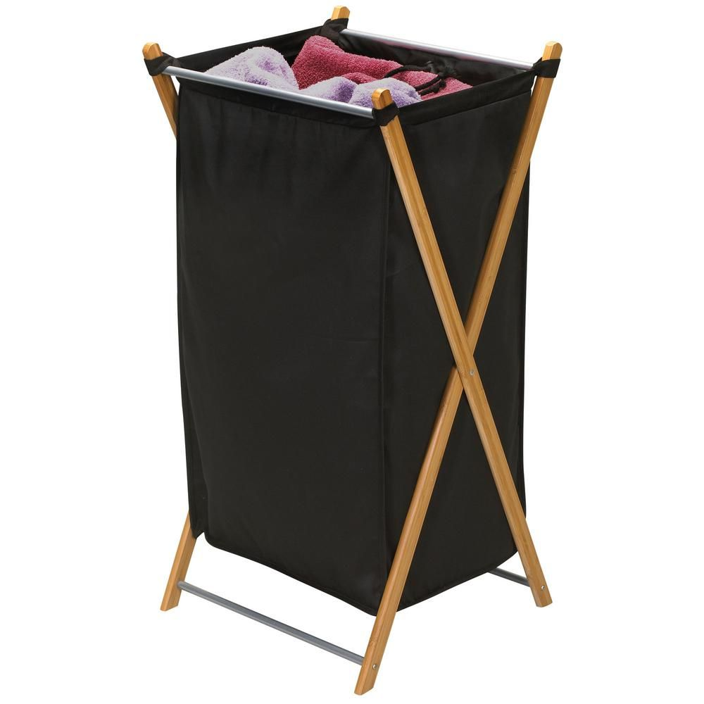 Household Essentials Heavy Duty Bamboo X Frame Laundry Hamper