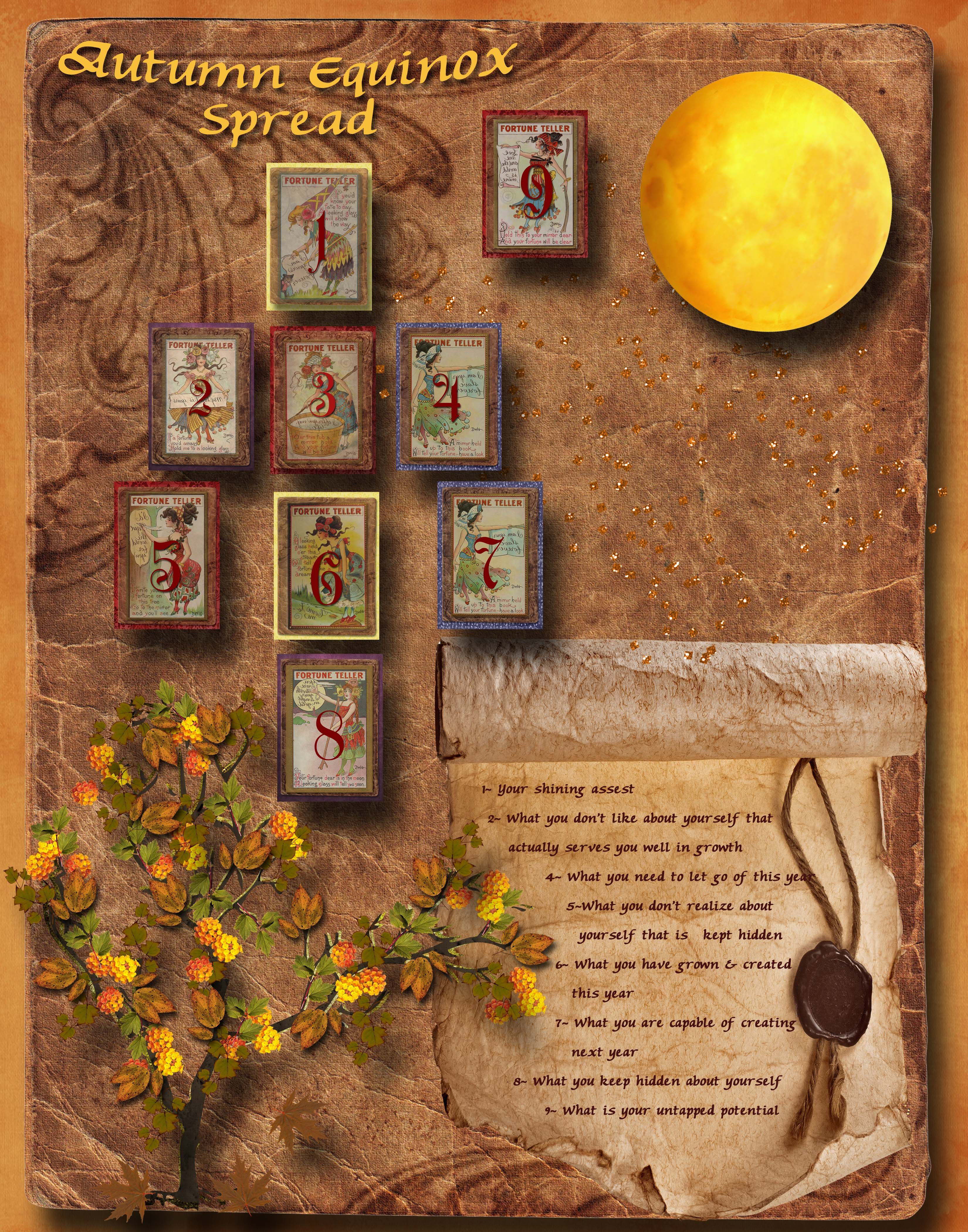 Autumn Equinox Spread (mabon) (tarot) The Missing 3: Fall foliage: What others appreciate as beautiful in you #autumnalequinox