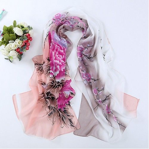 d436b34e22afb Dusty Pink Oriental Bird & Orchid Print Scarf | catologe saves in ...