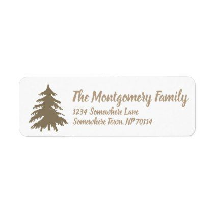 Rustic Elegant Taupe Fir Tree  Family Name Label
