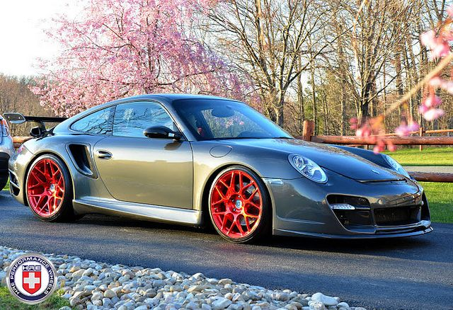 Porsche 911 997 Turbo Grey HRE P40SC Red Tinted