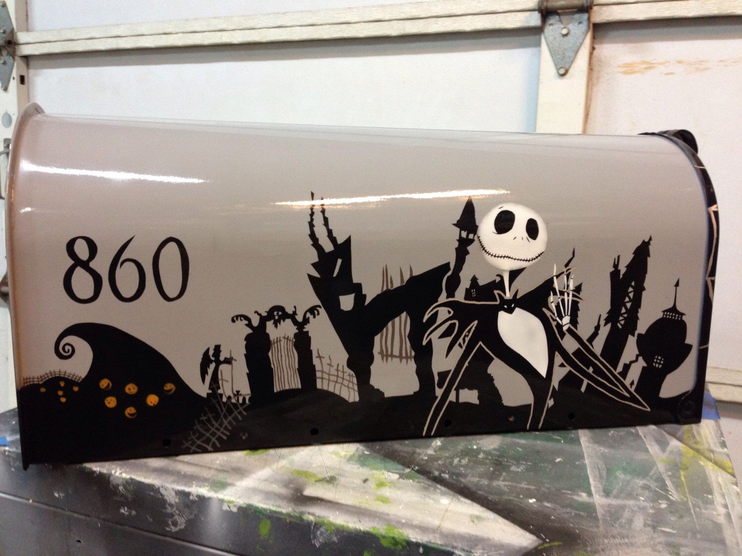 Nightmare Before Christmas Halloween Town Mailbox outdoor Decoration by  DRGRAFX on Etsy https:// - Nightmare Before Christmas Halloween Town Mailbox Outdoor