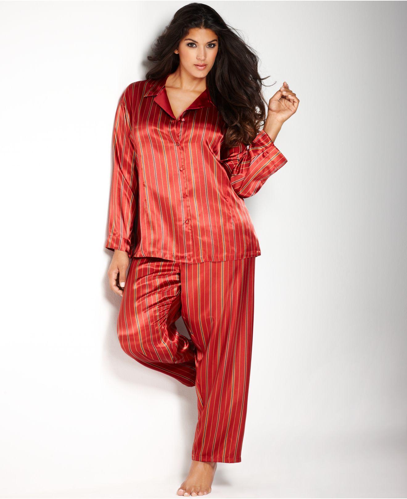 df201efa2edb0 Red Plus Size Satin Pajama Set