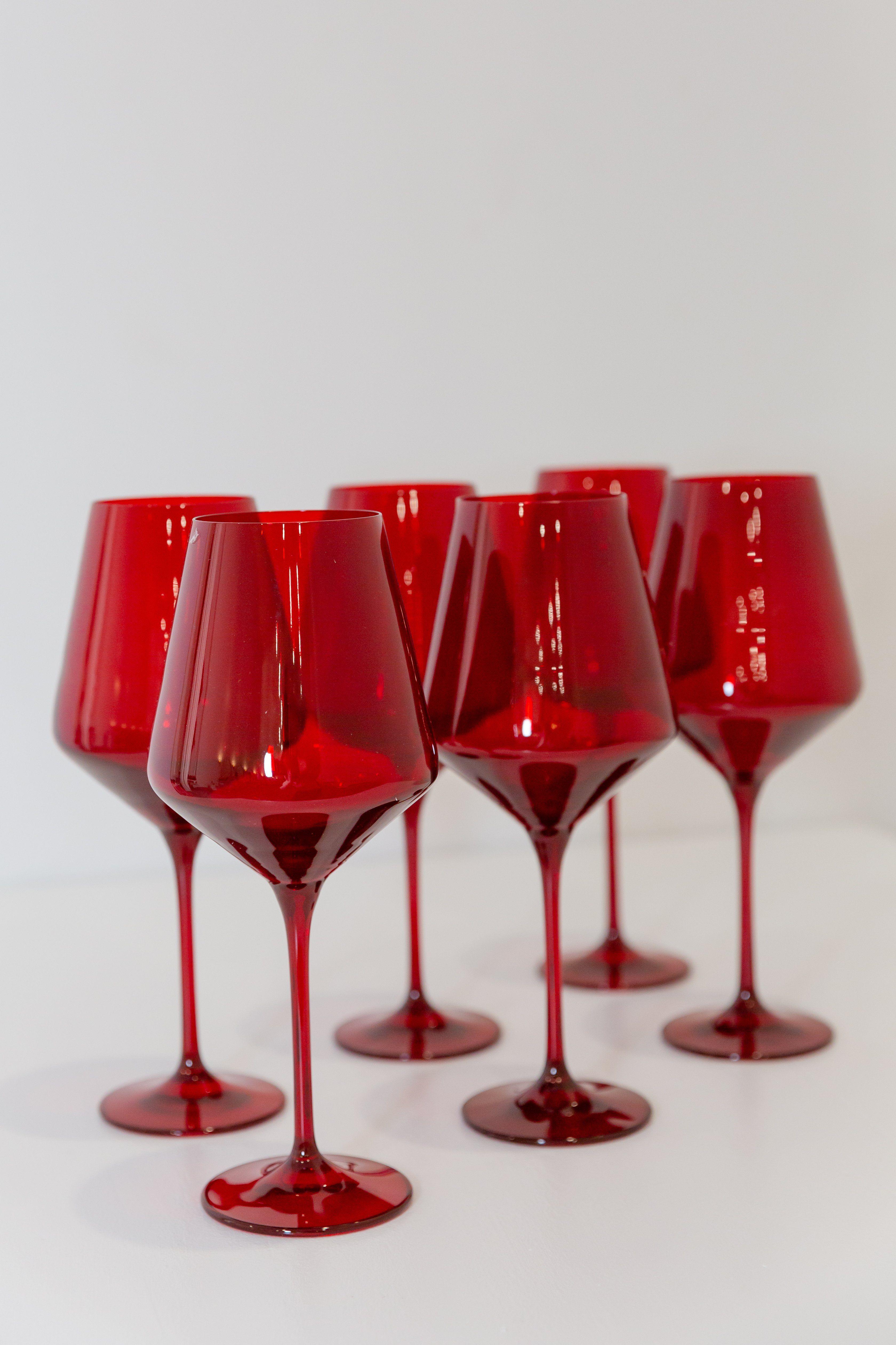 Estelle Colored Wine Stemware Set Of 6 Red In 2020 Stemware Wine Colored Glass