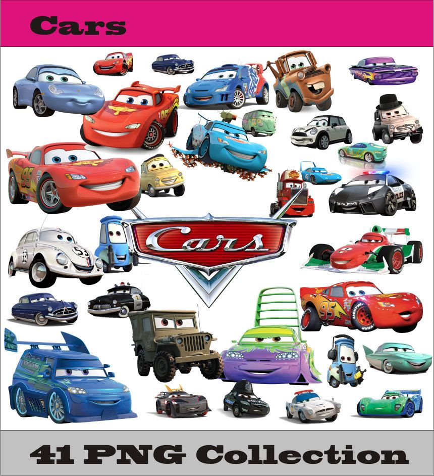 Car sticker design download - Cars Collection Png Vector Instant Download Disney Clipart Digital Albums Magnets Collage Greeting Sticker Printable Party
