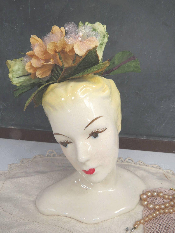 Vintage Large Glamour Girl Lady Head Vase 1950s Ceramic