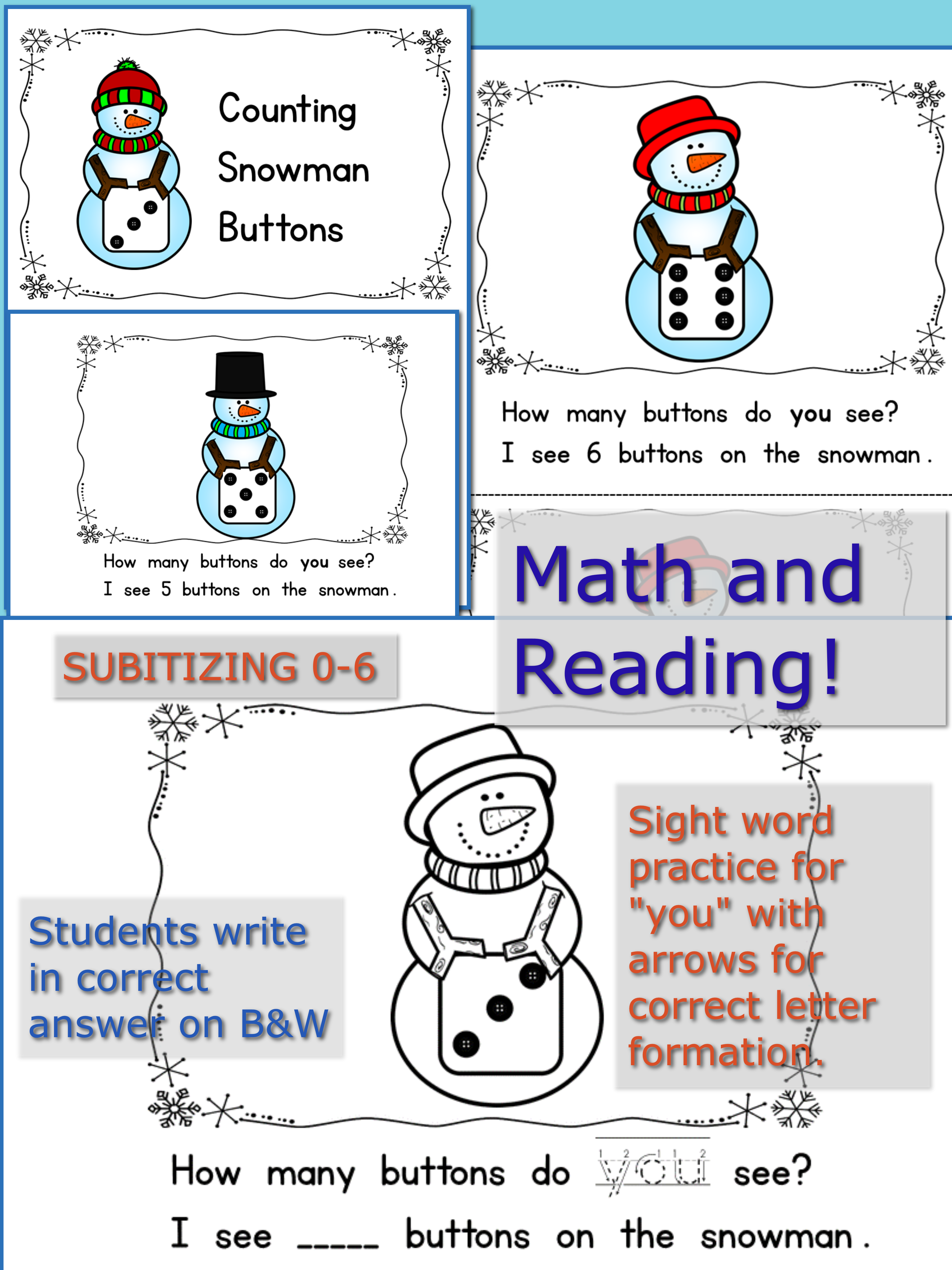 Subitizing 0 6 With Snowmen Bw Copy Includes Sight Word
