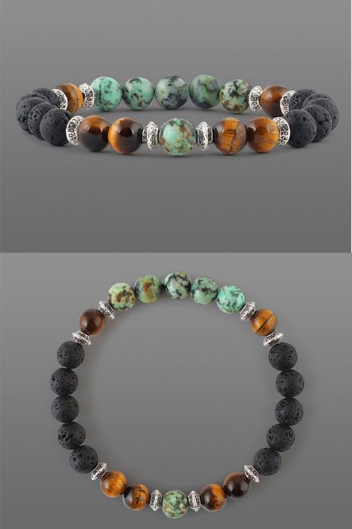Mens Bracelet Natural Stone Gemstone Bracelet 6mm Diameter Beads Stretch Bracelet African Turquoise Natural Gemstone Beads Bracelet