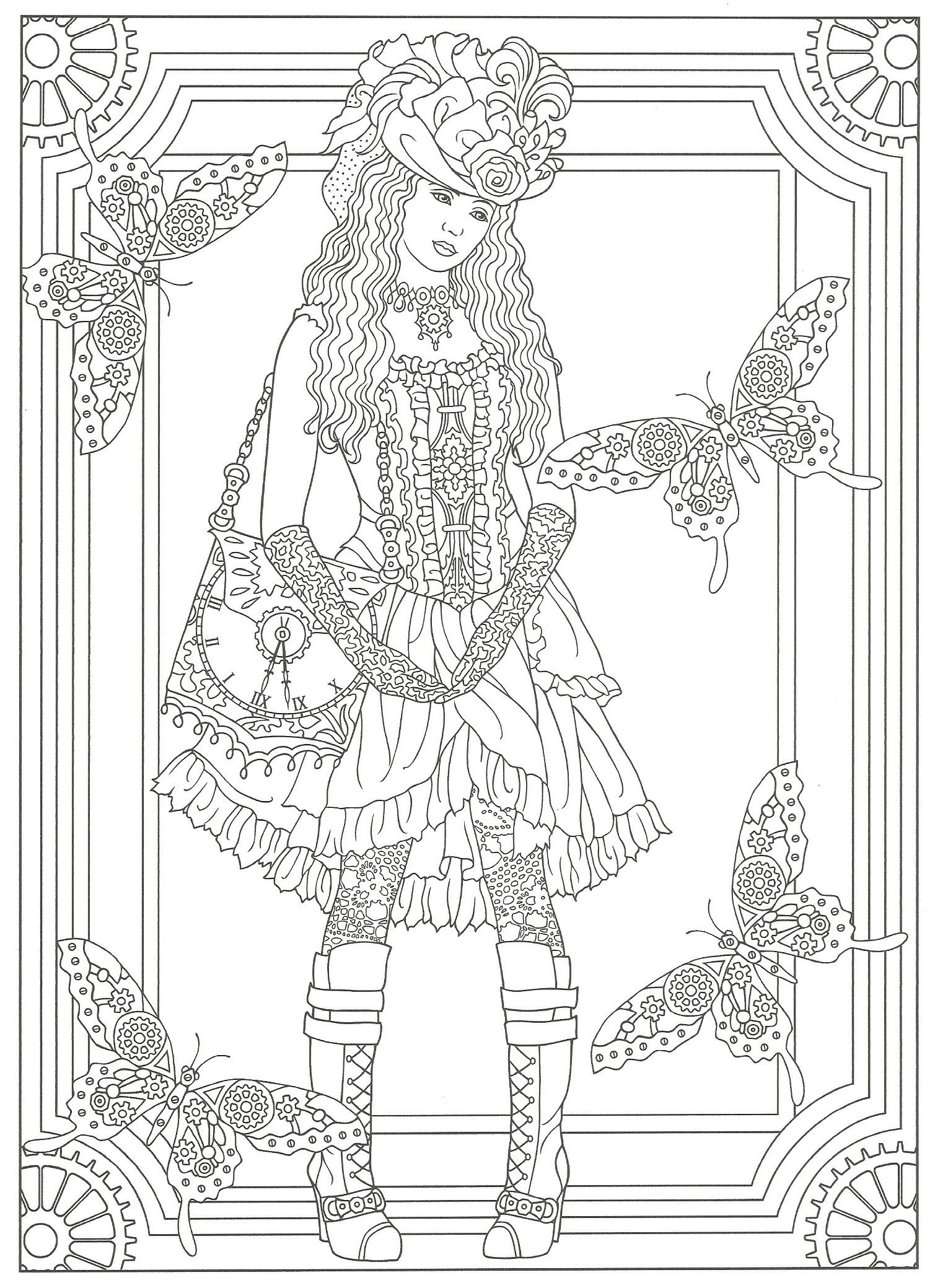 creative coloring pages for adults - steampunk adult coloring artwork by marty noble creative