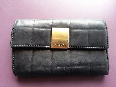 CHANEL Designer Wallet Quilted Black Small Money Purse Authentic