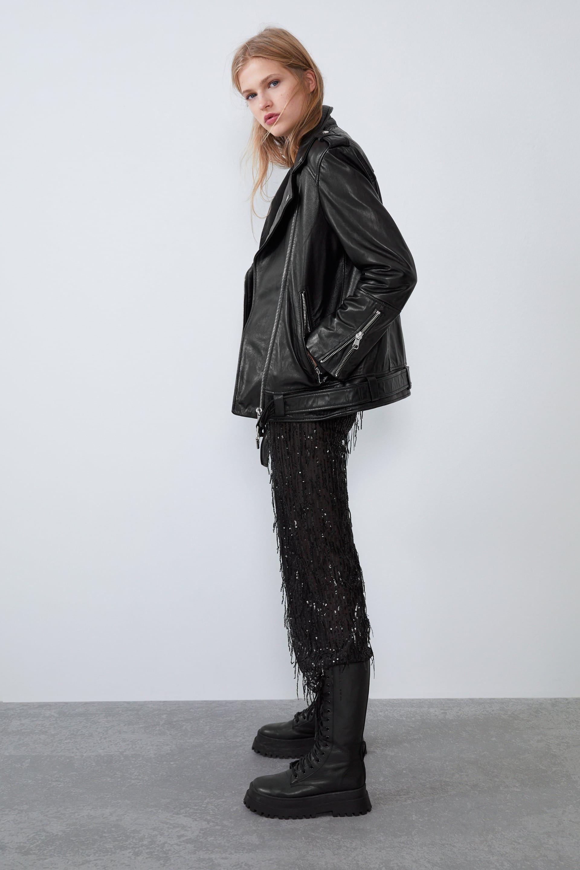 Oversized Leather Jacket Jackets Woman Zara Canada Leather Jacket Leather Jacket Details Jackets [ 2880 x 1920 Pixel ]