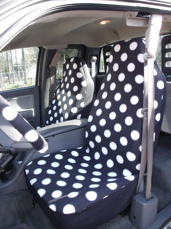 1 Set Of Black And White Dots Print Custom Made Car Seat Covers Pic Steering Wheel Cover