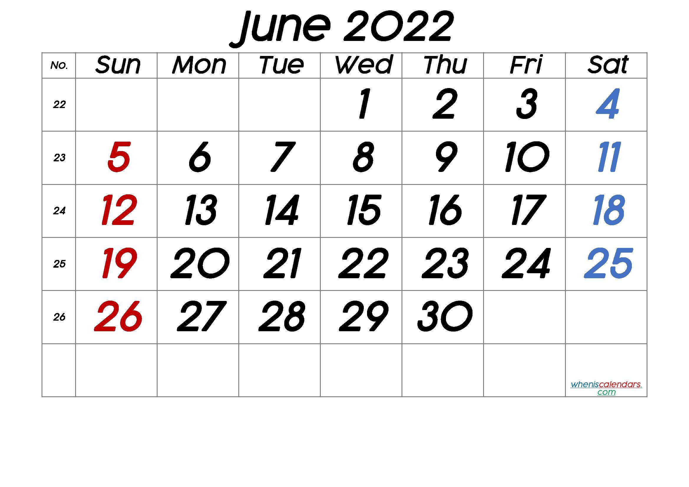 Printable Calendar For June 2022.Printable Calendar June 2022 6 Templates Calendar Printables Calendar Template Calendar With Week Numbers