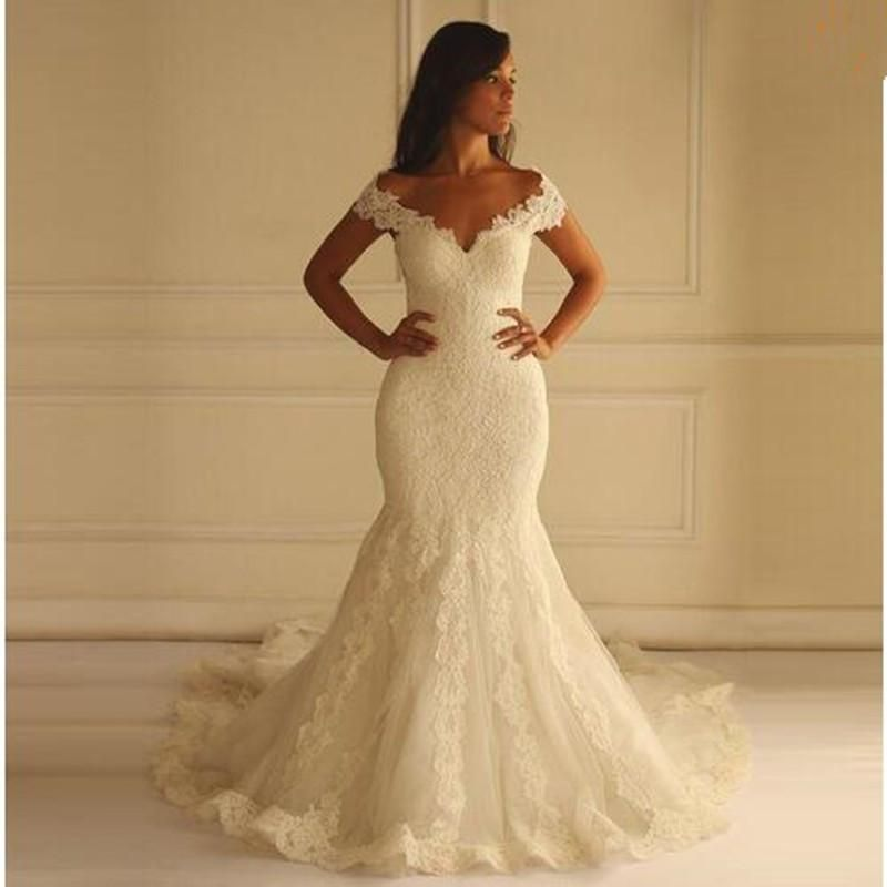 French Lace Mermaid Wedding Dress: Plus Size French Lace Mermaid Style With Hand Beaded