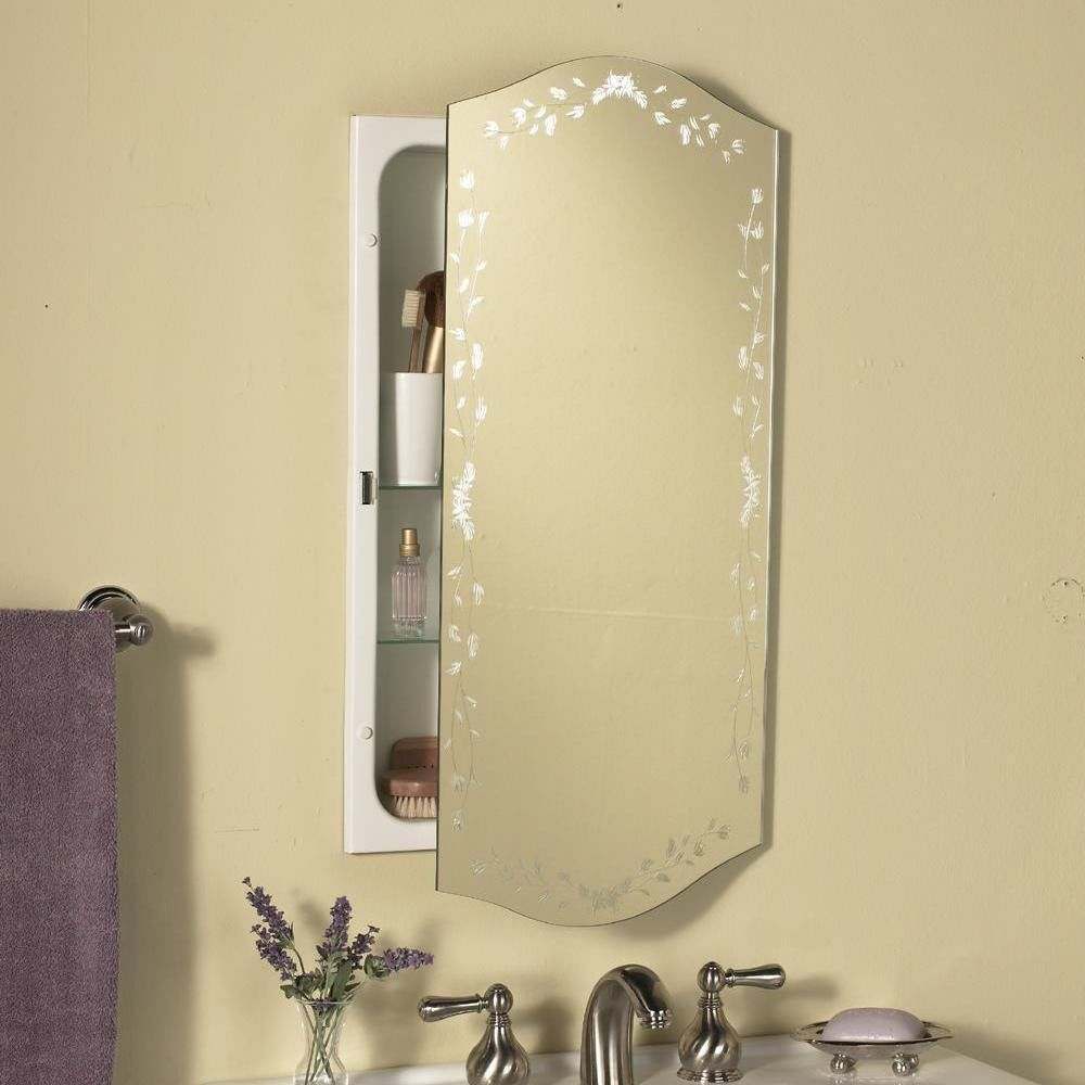 Venetian Eclipse Polished Mirror Recessed Metal Bathroom Medicine Cabinet