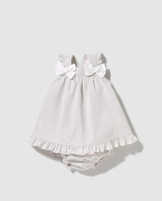 1a553d124 Vestido de bebé niña Dulces de rayas en camel