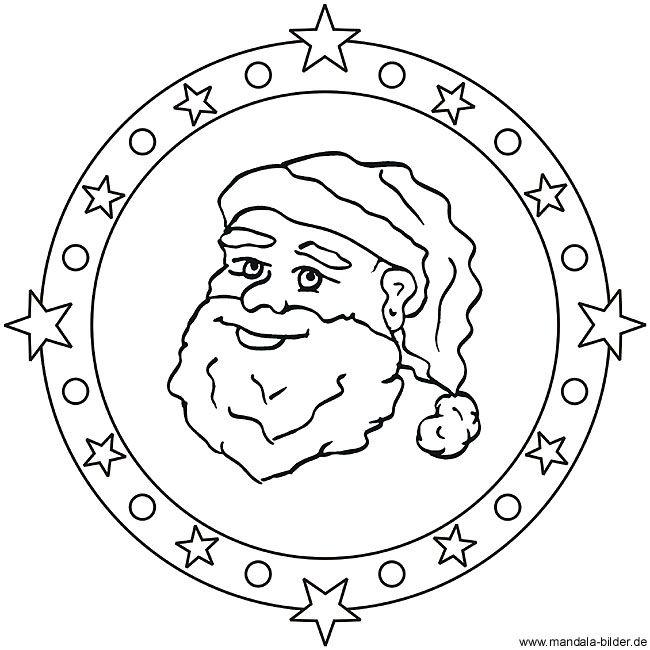 mandala ausmalbild mit dem weihnachtsmann oder auch santa. Black Bedroom Furniture Sets. Home Design Ideas