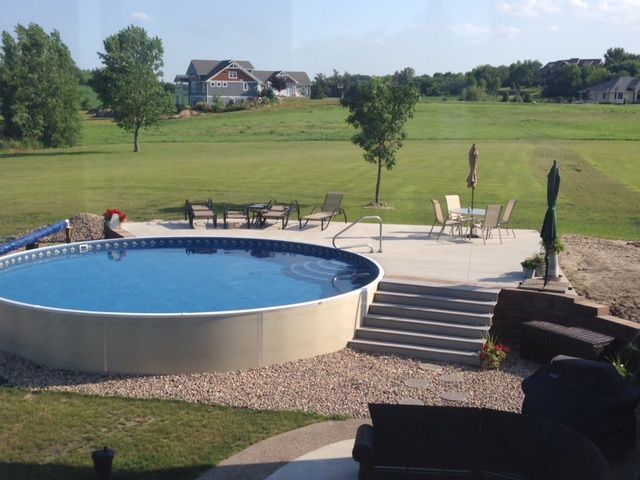 Radiant 27 Round Semi Inground With Deck Backyard Pool Landscaping Ideas